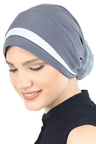 Gepolsterte und gefaltete Kopfbedeckung für Haarausfall, Krebs, Chemo Gr. Einheitsgröße, Grey/Cream -