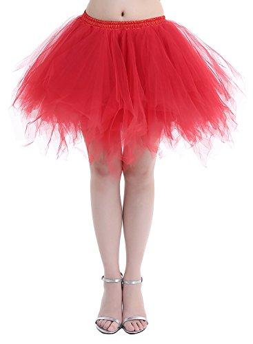 Dressystar Petticoats Minirock Kurz Unterrock Tutu Unregelmäßig Tüll Damen Mädchen Ballettrock Multi-Schichten Rot L