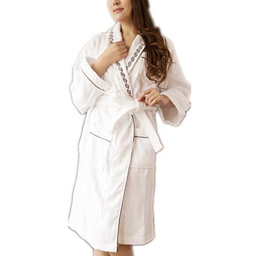 Cotton Knit Pyjama (ZHFDXD Damen Bademantel Cotton Knit MorgenmäntelNachthemd Loungewear Schlafmantel Pyjamas Robe @ XXL_White)