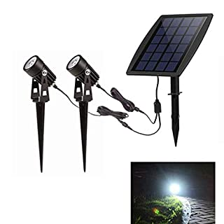 LED Solar Spotlight| Cool-White| 9-10 hours working time| 3M Cable |2 Pack | Water-proof IP65 Solar Ground Light for Outdoor Driveways、Garden| Automatically Activates At Dusk