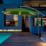 VINGO Ø 300cm Alu Ampelschirm mit Kurbelvorrichtung mit LED Beleuchtung Aluminium Sonnenschirm Schirm Gartenschirm Marktschirm