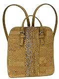 Kaibe Elegante mochila de corcho de alta calidad con banda de color (piel serpiente marron)