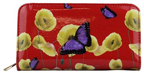 LeahWard Damen Mode lang Berühmtheit Poppy Schmetterlings Druck Schulter Beutel heiße verkaufende Shinny Umhängetaschen Handtasche CWRJ150601 CWP1501 PB Rot Reißverschluss ARunden