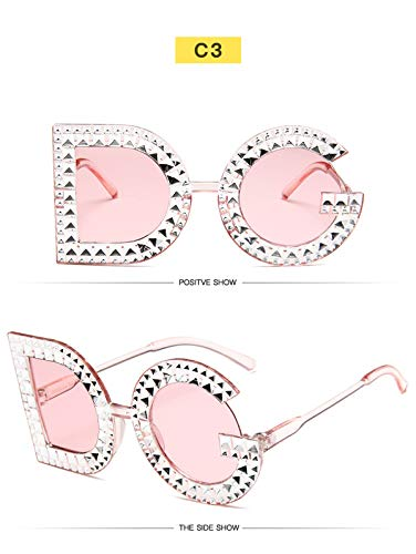 Sonnenbrillen Fashion Crystal Diamond Round Oversized Sun Glasses Brand Luxury DG Sunglasses Ladies Fashion Sunglasses For Women Party 3
