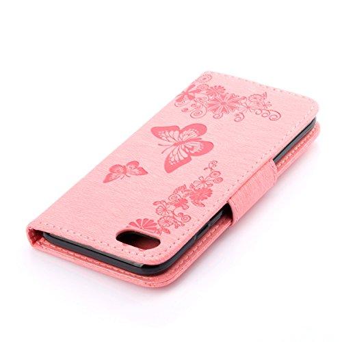 Custodia per Apple iPhone 7, ISAKEN iPhone 7 Flip Cover con Strap, Elegante Sbalzato Embossed Design in Pelle Sintetica Ecopelle PU Case Cover Protettiva Flip Portafoglio Case Cover Protezione Caso co Farfalla: rosa