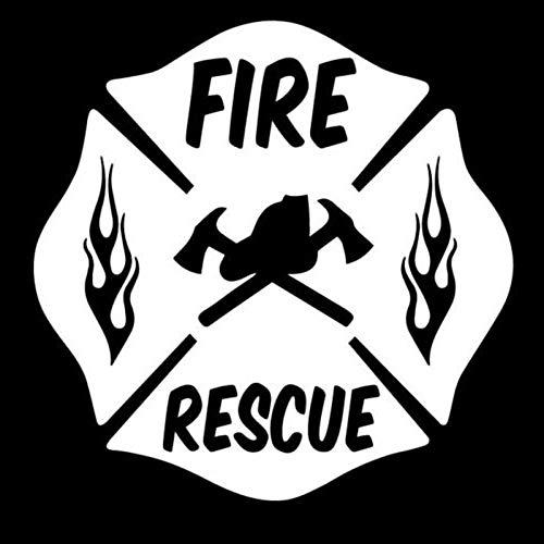8x8CM FIRE Rescue Firefighter Maltese Cross Vinyl Decal Car Window Glass Sticker Black/White