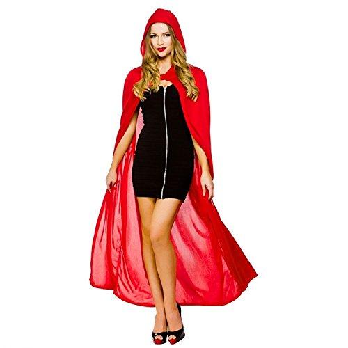 (discoball Halloween Umhang mit Kapuze Vampir Kostüm Damen Herren Lang Satin Samt Cape Erwachsener Unisex Kapuze für Karneval Fasching Cosplay Party Einheitsgröße ca. 150cm (Rot))
