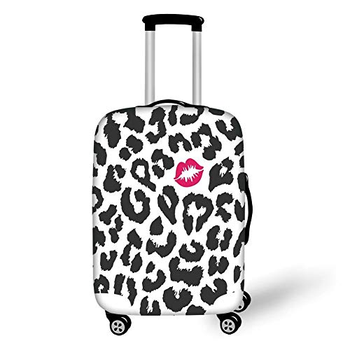 Travel Luggage Cover Suitcase Protector,Safari,Leopard Cheetah Animal Print with Kiss Shape Lipstick Mark Dotted Trend Artwork Decorative,Black White Red,for Travel Glitter Cheetah Print