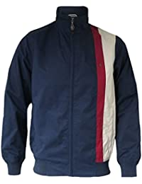 Gabicci Mens Retro Navy Stripe Jacket