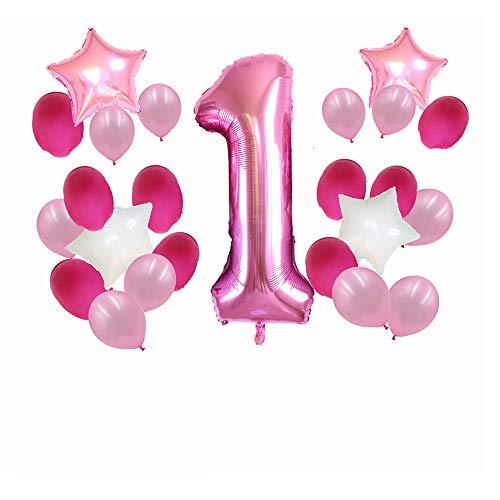 LVYIMAO Luftballon-Set für EIN Jahr, Stern, fünfzackige Sterne, Zahlen, Ballon, 25 Stück Pink 2#