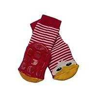 Weri Spezials High ABS Terry Socks. Design:Cheerful Duckling, Red, Size: 0-3 Months (13-14)