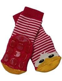 Weri Spezials Baby und Kinder Voll-ABS Socke Enten Motiv in Rot-Rosa
