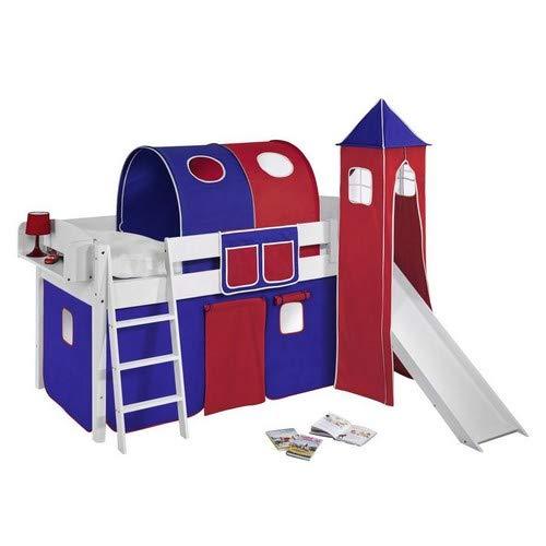 Lilokids Spielbett IDA 4105 Blau Rot-Teilbares Systemhochbett weiß-mit Turm, Rutsche und Vorhang Kinderbett, Holz, 208 x 220 x 185 cm