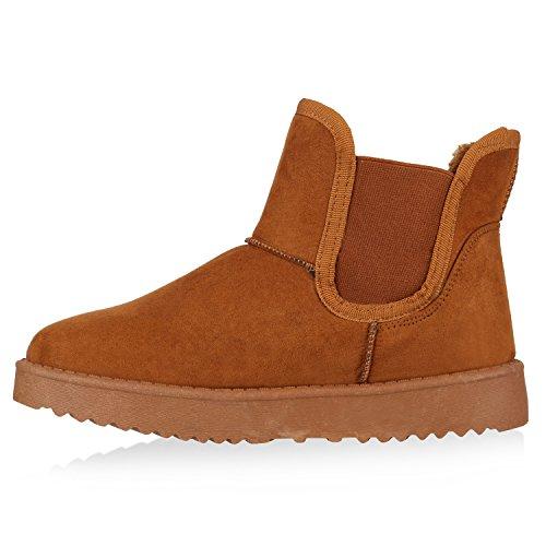 Warm Gefütterte Schlupfstiefel Stiefeletten Chelsea Boots Style Hellbraun