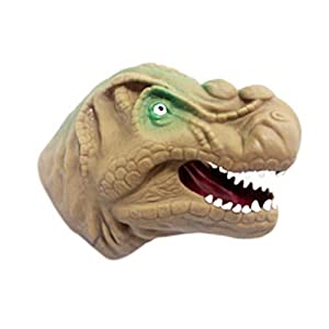 TrifyCore Guantes de muñecas de Cabeza Animal Guantes de Animales de simulación de Juguetes Infantiles(Dinosaurio Amarillo) 1