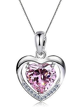 Damen Halskette 925 Sterling Silber mit Herz Anhänger mit SWAROVSKI Herzkette, Ein Symbol der