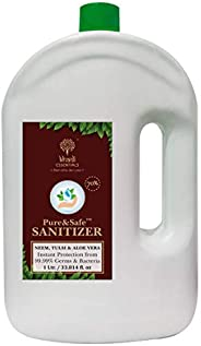 Khadi Essentials Pure&Safe Sanitizer 1 Litre Instant Hand Sanitizer Liquid 70% Ethyl Alcohol, Neem, Tulsi