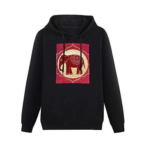 Mesllings Sudadera con Capucha y Bolsillos para Hombre, diseño de Elefante Indio con Mandalas Negro Negro (XXXXL