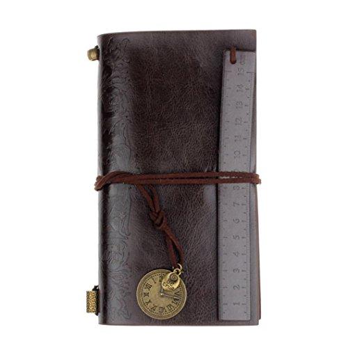 Malloom® vintage, retro, clásico PU cuero revista nota cuaderno diario de bolsillo con marcador (café)