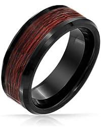 Bling Jewelry incrustaciones en madera de tungsteno negro Anillo Mens