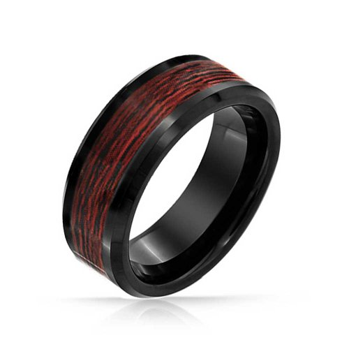 Bling Jewelry Koa Holz Inlay Schwarz Ehering Ringe Tungsten Ringe Für Herren Für Damen Comfort Fit 8MM - Ehering 8mm