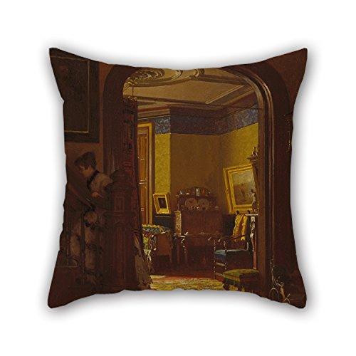 slimmingpiggy Weihnachten Kissen von Ölgemälde Eastman Johnson–Nicht zu Hause 45,7x 45,7cm/45von 45cm beste Passform für Wohnzimmer Esszimmer Kaffee House GF Bench jeder Seite