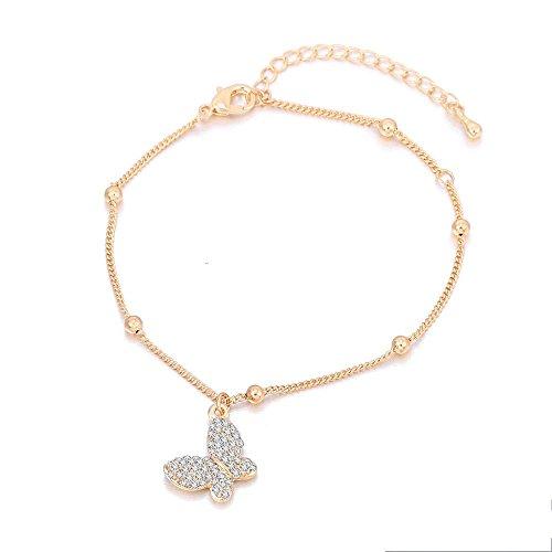 upfer Strass Fußkettchen Schmetterling Schildkröte Tier für Frauen Valentines Gesschenk , gold ()