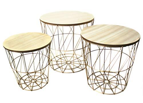 Bada Bing 3er Set Metall Korb Gold Optik Beistelltisch Metallkorb Couchtisch Kaffeetisch Wohnzimmertisch Modern Rund Holz Design Tisch 3...