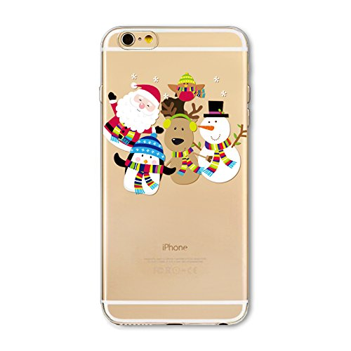 Christmas Hülle iPhone SE 5SE 5 5S LifeePro Weihnachts Cover Ultra dünn Weiches Transparent TPU Gel Silikon Handy Tasche Bumper Case Anti-Scratch Back Cover Full Body Schutzhülle für iPhone SE 5SE 5 5 Santa Claus and Snowman