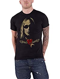 Tom Petty T Shirt Shades and Logo heartbreakers Nue offiziell Herren Schwarz