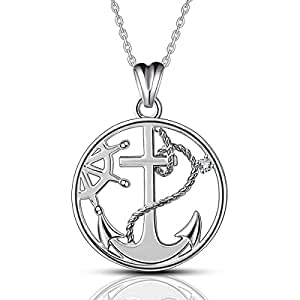 AEONSLOVE S925 Sterling Silver Anchor&Compass Necklace Round Pendant 18inch Chain