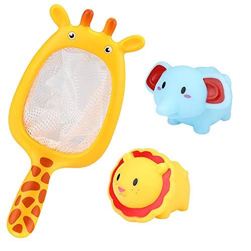 Fliyeong Premium-Qualität Spielzeug für 1 2 3 4 5 6 7 8 9+ Jahre alte Junge Mädchen, Baby Baden schwimmende weiche Gummi Tiere Wasser Badewanne Spielzeug spritzt Löffel-Net 1 Satz A 3PCS (Badewanne Spielzeug Für 4 Jährige Mädchen)