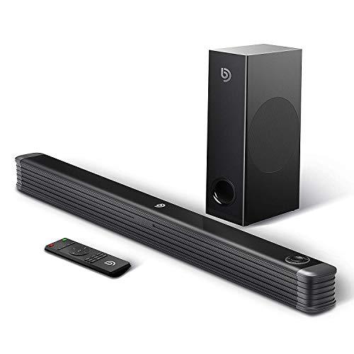 Barra de Sonido 2.1 Canales para TV, BOMAKER 150W con Subwoofer Inalámbrico y Bluetooth 4.2 con Control Remoto, Njord Ⅰ (Soporte Conexiones Óptico/RCA/Coaxiales/Bluetooth)