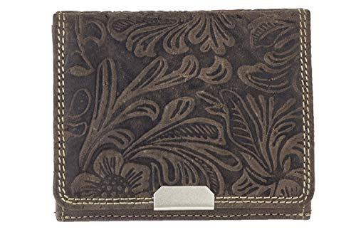 Wiener Schachtel mit Blumen-Print im Ausweis-Format mit großer Kleingeldschütte im Vintage-Style LEAS, in Echt-Leder, braun - Vintage-Collection Vintage Blumen-prints