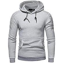 Yvelands Sweatshirt Outwear Moda para Hombres Guapo Hombro Plisado con Capucha de Manga Larga Camiseta Blusa