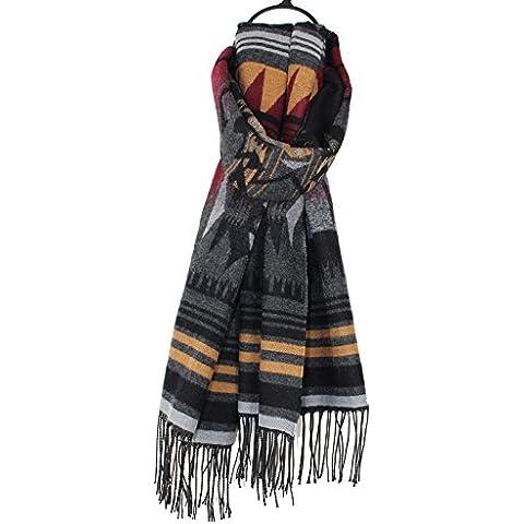 BAI-Seppia cashmere geometria caldo tirare al lordo multi-colore sciarpa uomini