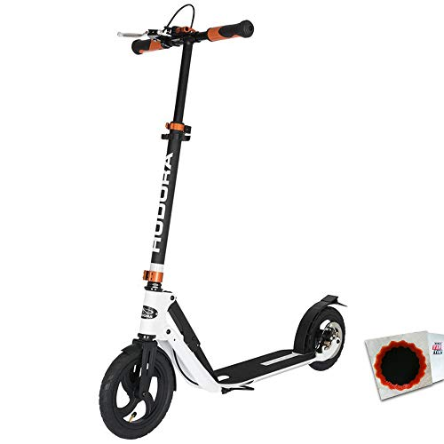 "HUDORA City Scooter Big Wheel Air DB 9"" 230 Air Dual Brake + Flicken"