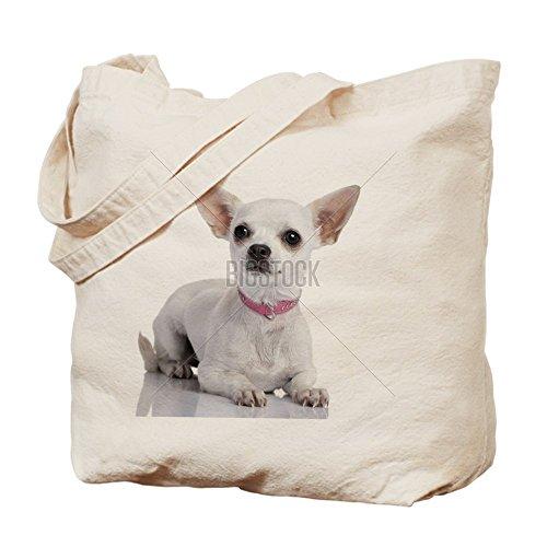 CafePress–Chihuahua Puppy trägt einen Rosa Halsband (6–Leinwand Natur Tasche, Reinigungstuch Einkaufstasche