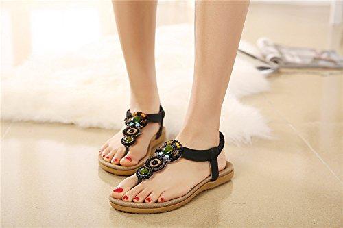 Fortuning's JDS Bohemian stile estivi tendenza etnica sandali piatti elastiche per le donne e le ragazze Nero
