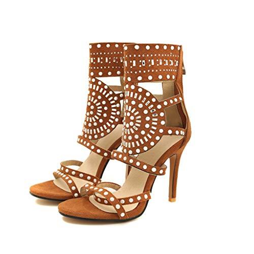 Damenmode High Heels Schuhe Ankle Wrap Zurück Reißverschluss Sandalen Sommer Polka Dot Ausschnitt Schuhe Für Formale Party Abendkleid Rote Ankle Wrap