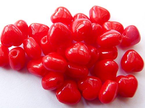 40(PCS) X 6mm Herz Tschechische Glas Spacer Beads-Koralle rot-C003 - Rondell Czech Pressed Glass Bead
