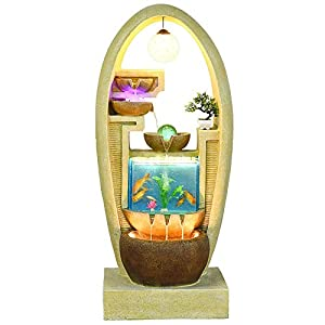 HeKai European wall water fountain home hotel decoration office creative fish tank decoration crafts Rattan led chandelier aquarium (Color : Brown)