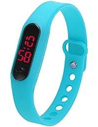 LED Watch Reloj Infantil Demiawaking Relojes Niños/Niñas Chico/Chica Reloj de Pulsera Reloj Digital Unisex Deportes Pulsera de del Silicón del Reloj Digital Deportivo(Celeste)