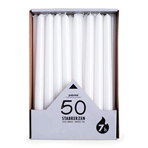 pajoma Stabkerzen, weiß, 50 Stück, Höhe 25 cm, Brenndauer ca. 7 Stunden