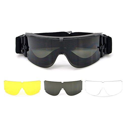 Funwill® Schutzbrille mit kratzfester Scheibe, Taktische Sicherheitsluftgewehr Schutzbrille 3 Brillengläser von Verschiedene Farben mit 1 Tasche Augenschutz Stoßfest, Beschlagfrei, Regensicher