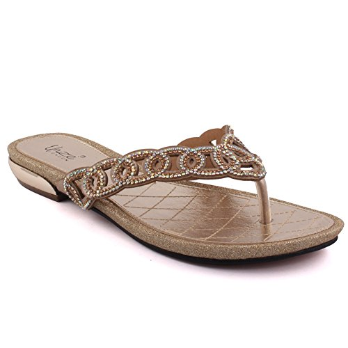 Unze Nuove donne 'Campos' aperte davanti Thong Sandal estate Beach Party Get Together Carnevale scolastico piano casuale Sera Slipper Shoes UK Size 3-8 Oro