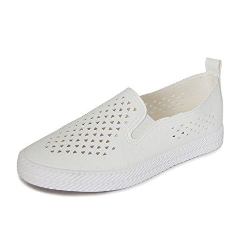 Lässig Schuhe Atmungsaktiv Weiß Rundzehen Einfach Sportlich Slipper On Damen Klassisch Freizeit Slip Aushöhlen Flach Hqz4Awa