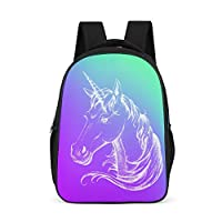 Dofeely Unicorn Pattern School Backpack School Bag Ergonomic Practical Backpack Primary School Backpack Leisure Backpack for Camping Trekking 32 x 18 x 42 cm Polyester