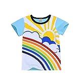 Fenverk Jungen T-Shirt Regenbogen Mond Sonne Gedruckt Kinderbekleidung Krabbelhosen Bekeleideung Sommer Kleidung Top Outfit Boy Kinder Tops Bekleidungs(Weiß,18-24 Monate)