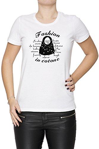 Fashion In Cotone Donna T-shirt Bianco Cotone Girocollo Maniche Corte White Women's T-shirt
